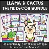 Llama and cactus theme classroom decor BUNDLE *editable*
