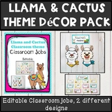 Llama and cactus theme classroom decor class jobs pack *editable*