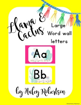 Llama and cactus word wall  EDITABLE