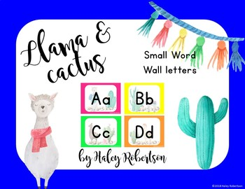 Llama and cactus word wall headers *Smaller size* EDITABLE