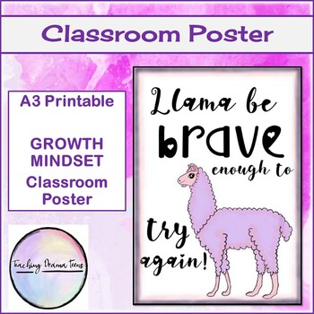 Llama be brave enough to try again! Poster - Growth Mindset - Punny Poster