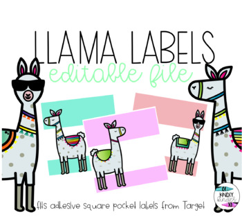 Llama labels (fits target adhesive square pocket labels)
