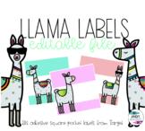 Llama labels (fits target adhesive square pocket labels)