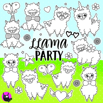 Llama party stamps,  commercial use, vector graphics, images  - DS1087