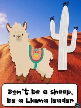 Llama posters for behavior and problem solving