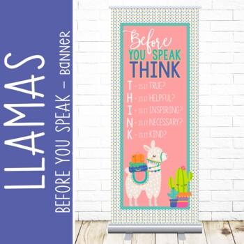 Llama theme - Classroom Decor: LARGE  BANNER - Before You Speak