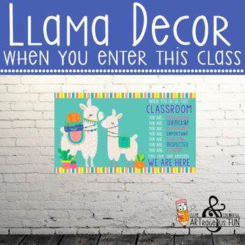Llama theme - Classroom Decor: SMALL  BANNER - When You Enter This Classroom