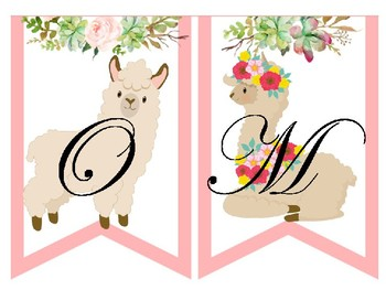 "Llama ""welcome"" watercolor pendant"