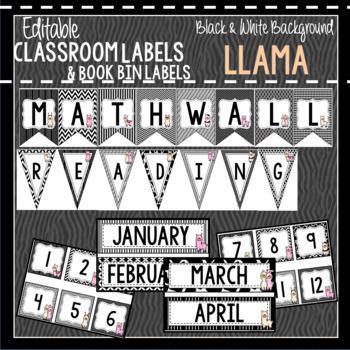 Llama with B & W Background Classroom Decor & Book Bin BUNDLE