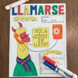 Llamarse ~Color by verb conjugation Spanish verb practice