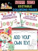 Llamas & Cactus Happy Desk Coloring Pages: Editable, Back