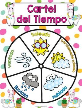 Llamas: Cartel del Tiempo - Spanish Llama themed weather chart
