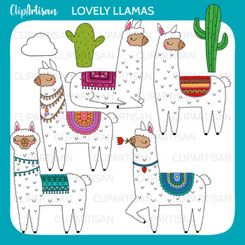 llamas clipart alpaca printable by clipartisan tpt rh teacherspayteachers com alpaca cartoon clipart alpaca clipart free