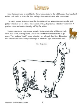 Llamas Thematic Unit