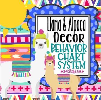 Llamas and Alpacas Behavior Chart System  *editable*