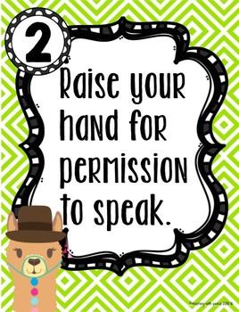 Llamas and Alpacas Theme Classroom Rules Posters **editable**