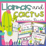 Llamas and Cactus Classroom Decor Editable