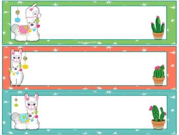 Llamas and cactus themed nameplates