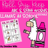 Llamas at School ABC & Sight Word Roll, Say, Keep-Editable