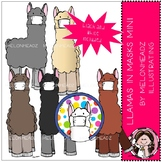 Llamas in masks clip art - Mini - Melonheadz Clipart