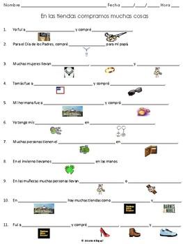 Llenan Los Espacios - A Vocab Practice Sheet for Realidades 1- 7B