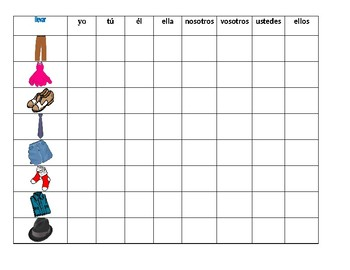 Ropa y Llevar (Clothing in Spanish) Connect 4 game