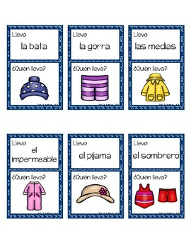 Llevo… ¿Quién lleva? I'm Wearing? Who's wearing?  Spanish Clothing Words