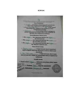 Loan Information INB TEKS 8.12B