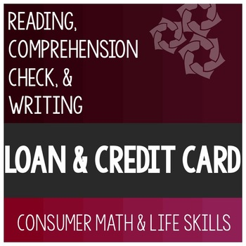 Loan and Credit Card Article- Consumer Math Special Education