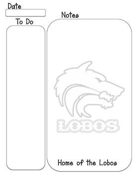 Lobos mascot To do, Note taking sheet
