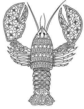 Lobster Zentangle Coloring Page