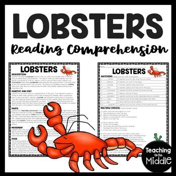Lobsters Reading Comprehension; Ocean Creatures; Crustacean; Molt