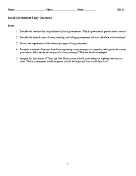 Local Government Discussion/Essay Questions