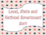 Local, State, and National Levels of Government Sort