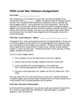Local War Veteran Research Assignment