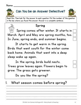 Locate the Answer about Spring Grades K-2