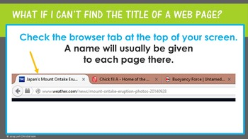 Locating Bibliographic Information on Websites -- PowerPoint Lesson and Activity