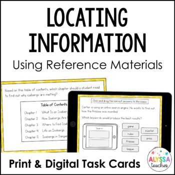 Locating Information Task Cards (SOL 3.7) with Digital Boom Cards