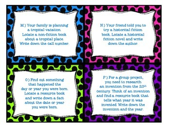 Locating Library Resources Task Cards - Differentiated