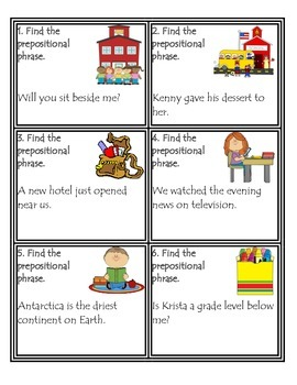 Locating Prepositions Task Cards:  Common Core Aligned