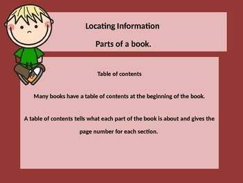 Locating parts of a nonfiction or informational text.