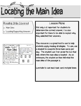 Locating the Main Idea Task Cards