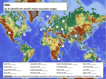Locating the world's famous mountain ranges