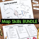 Map Skills, Location, Urban, Surburban, & Rural  BUNDLE