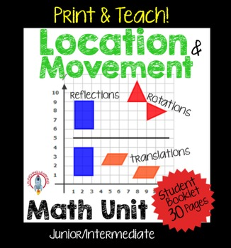 Location & Movement, Translations, Reflections, Rotations Geometry Unit NO PREP