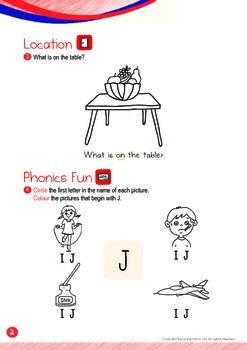 Location - On (II): Letter J - Kindergarten, K1 (3 years old)
