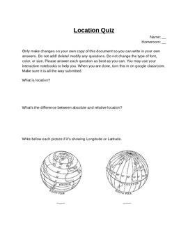 Location Quiz- Five Themes of Geography