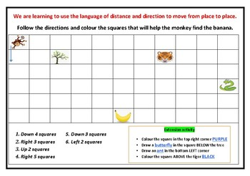 Location Worksheets- help the monkey find his banana!