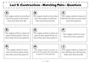 Loci & Constructions - Matching activity - Math - Geometry