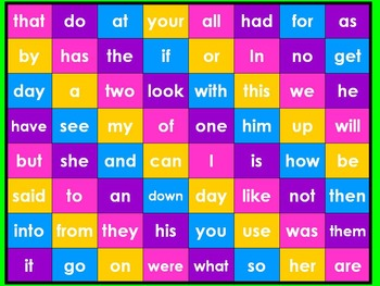 Lock Up Four in Row with Fry Sight Words